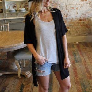 Black Short Sleeve Cardigan